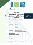 Report - Capital Works Procurement - The Selection of a Building Procurement Method