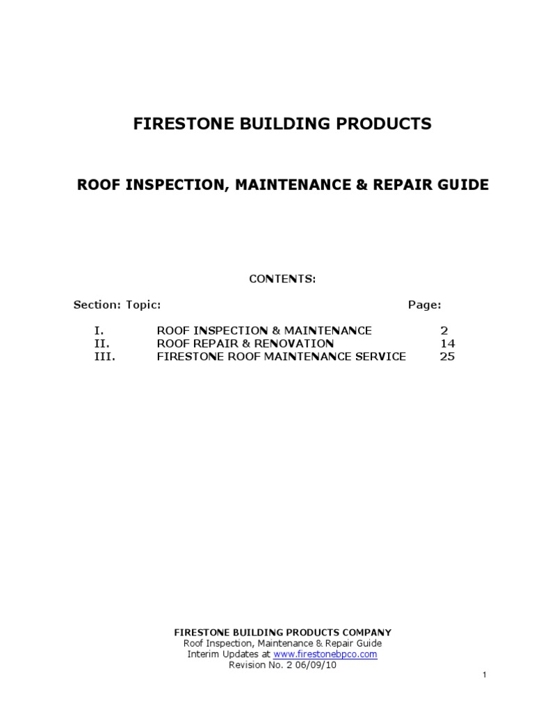 Firestone Building Products Roof Inspection Maintenance Repair Guide Roof Adhesive