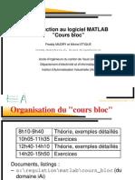"""Introduction Au Logiciel MATLAB """"Cours Bloc"""""""
