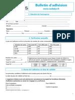 Sodalys - Bulletin d'Adhésion Entreprise 2015