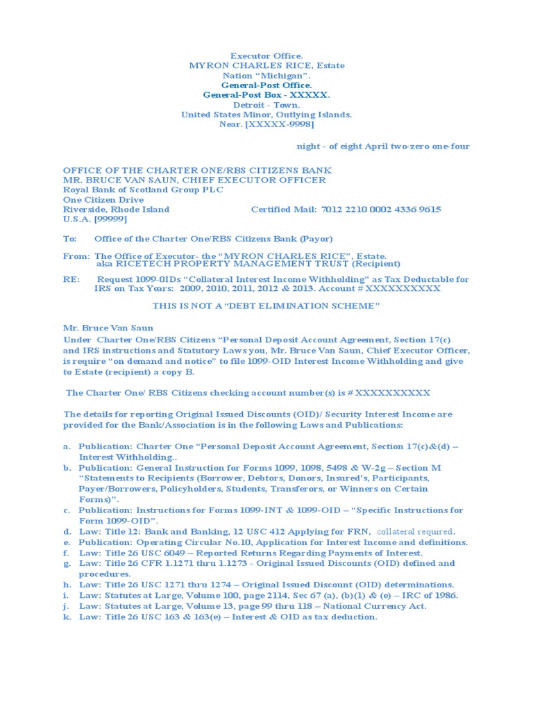 Request Ltr2bank For Oids Internal Revenue Code Withholding Tax