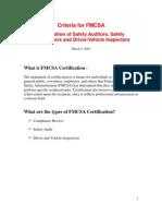 Criteria for FMCSA inspectors