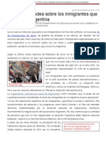 Mitos y Realidades Sobre Los Inmigrantes Que Viven en La Argentina