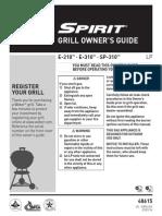 Weber Spirit Gas Grill - Owner's Guide - E210, E310, SP310
