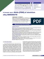 1412SFriction Stir Welds (FSW) of Aluminium Alloy AW6082-T6