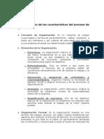 Identificación de las características del proceso de Organización