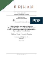 Políticas sociales para la reducción de la desigualdad y la pobreza en América Latina y el Caribe. Diagnóstico, propuesta y proyecciones en base a la experiencia reciente