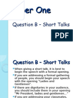 paper one - question b - short talk