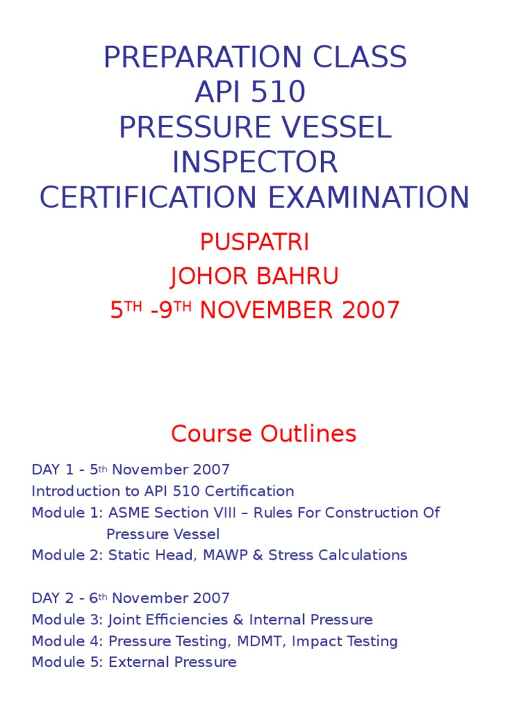 Pressure Vessel Inspector Certification By Puspatri Strength Of