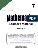 Grade 7 Math Learner's Material