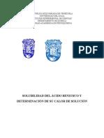 Solubilidad del ácido benzóico y determinación de entalpía de solución.