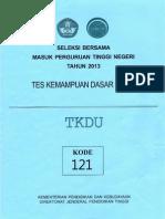 Naskah Soal SBMPTN 2013 Tes Kemampuan Dasar Umum (TKDU) Kode Soal 121