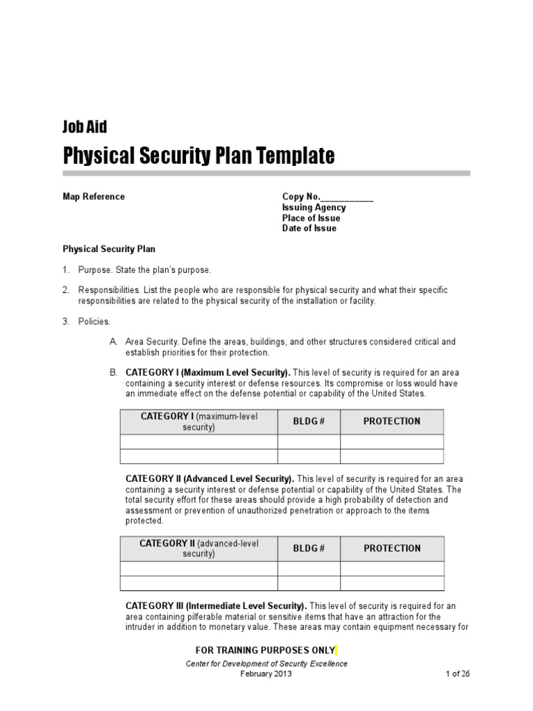 Physical security plan template physical security for Physical security survey template
