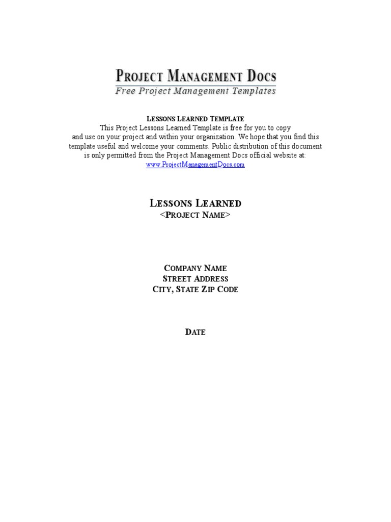 Project Management Lessons Learned Template Project Manager