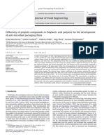 Diffusivity of Propolis Compounds in Polylactic Acid Polymer for the Development