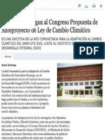 Entidades entregan al Congreso Propuesta de Anteproyecto de Ley Cambio Climático