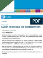 IDDI con proyecto agua para localidades frontera