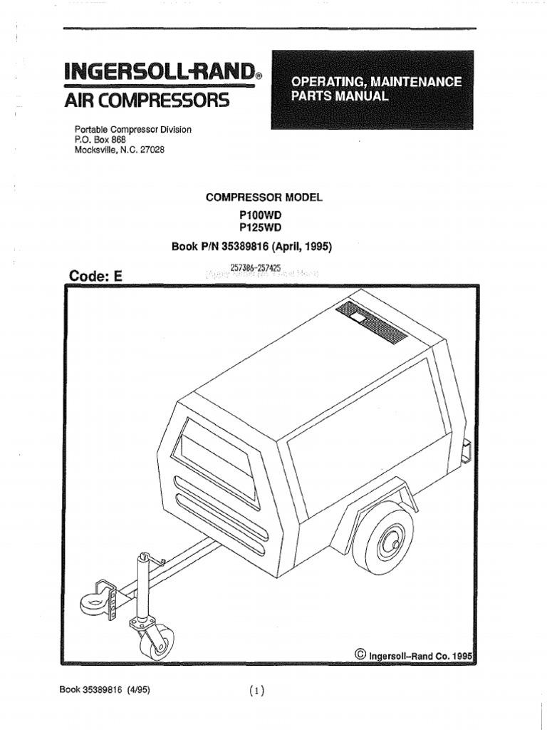 ingersoll rand p100wd p125wd valve switch rh scribd com Ingersoll Rand Compressor Service Manual Manuals of Compressor Ingersoll Rand
