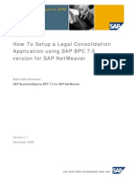 How to Setup a Legal Consolidation Application Using SAP BPC 10 Version for SAP NetWeaver