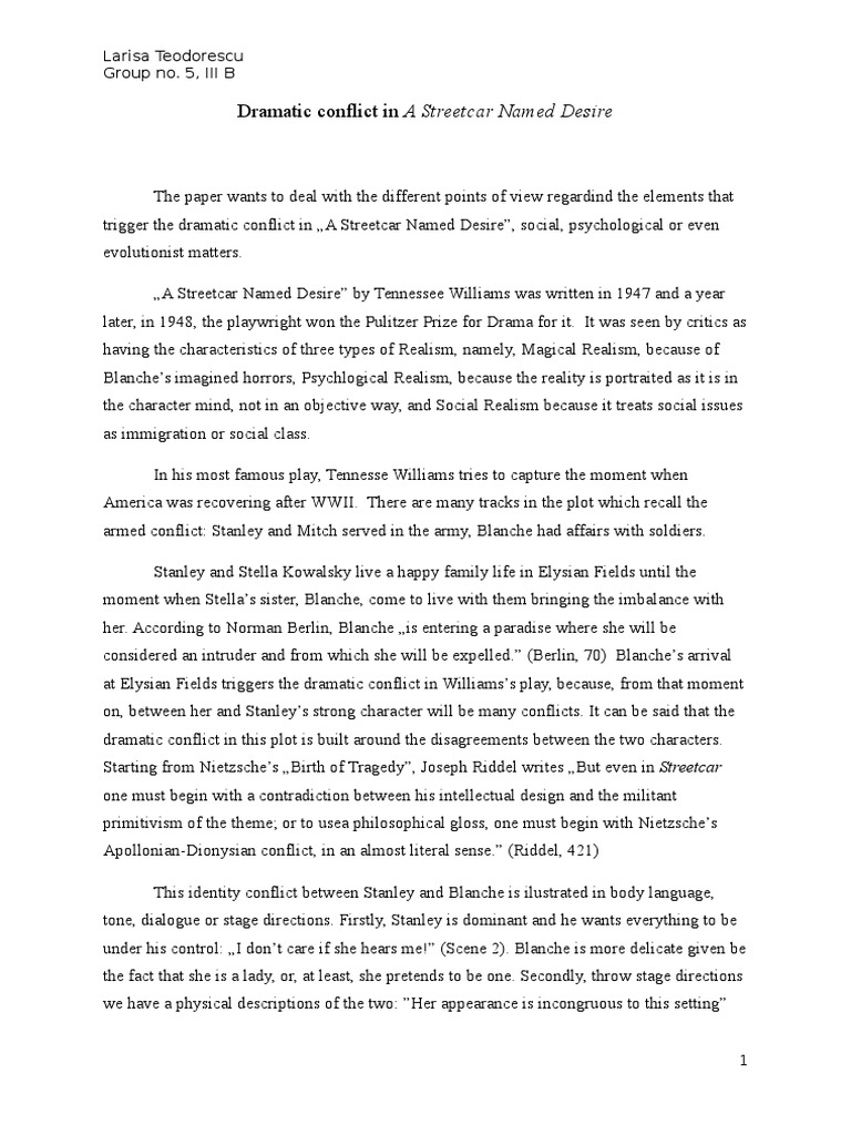 Synthesis Essay Introduction Example Dramatic Conflict In A Streetcar Named Desire  Science  Philosophical  Science Exemplification Essay Thesis also Analytical Essay Thesis Dramatic Conflict In A Streetcar Named Desire  Science  High School Reflective Essay
