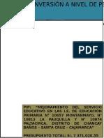 Perfil Preinversion Escuelas de Chancay Montanmayo Pauquilla