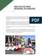 Primer Dia de Paro Macroregional en Arquipa