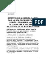 INTERVENCIÓN DE LA PRESIDENTA DEL CONCEJO DE ARTICA SESIÓN ORDINARIA 06/10/11