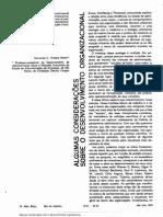 Algumas Considerações Sobre o Desenvolvimento Organizacional