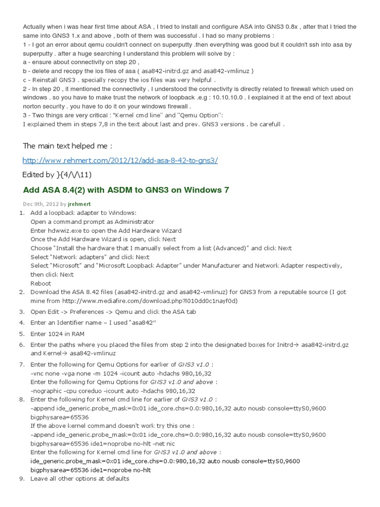Add ASA 8 4(2) with ASDM to GNS3 on Windows 7 | Network
