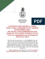 INTERVENCIÓN DE LA PRESIDENTA DEL CONCEJO DE ARTICA SESIÓN ORDINARIA 19/02/2015