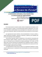 Bolaños Hector, La Educación a Distancia, facilitadora para la capacitación de trabajadores.