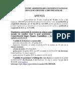 Anunt Concurs Antigrindina Buget