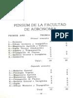 Pensum Facultad Nacional de Agronomía, 1943 (Vol. 5, N. 20-1943)