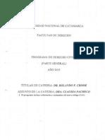Programa Civil I Cód. Civil y Comercial (Unificación) Año 2015