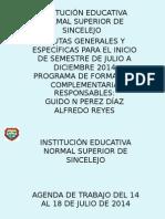 inicio semestre pfc julio a diciembre 2014
