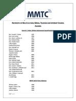 All Past MMTC Award Recipients