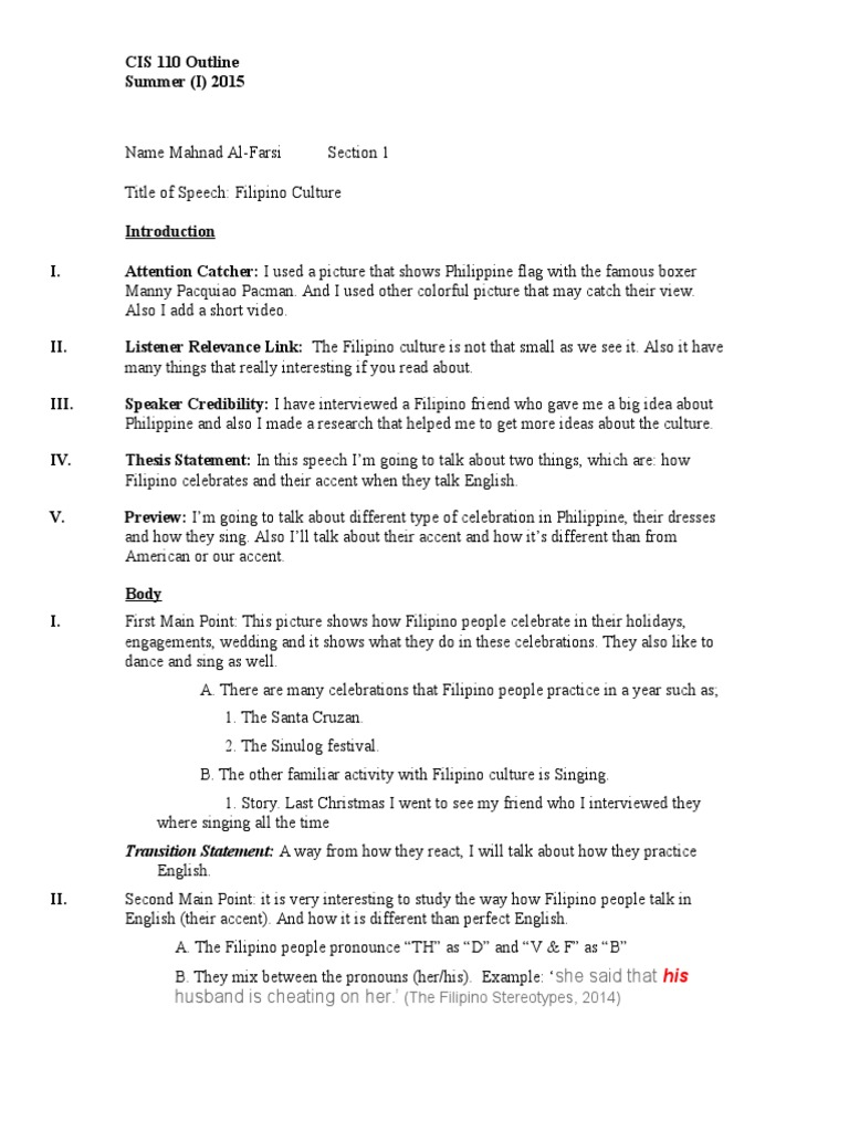 Culture Speech Outline  PDF  Philippines  English Language Throughout Speech Outline Template Word