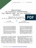 Détermination Des Dimensions Caractéristiques d'Un Réservoir d'Air Sur Une Installation Élévatoire