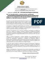 Nota de Prensa 007 - 2015 - Arma Ejecutará Proyectos Estratégicos Por La Preservación Del Ambiente