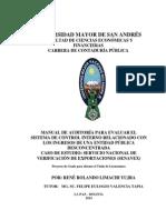 Manual de Auditoria Para Evaluar El Sistema de Control Interno de SENAVEX