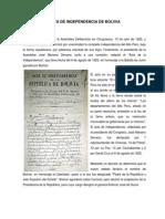 Acta de Independencia de Bolivia Simbolos y Cpe