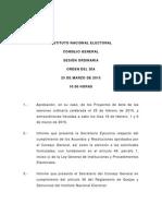 Orden Del Dia 25 de Marzo de 2015 - Sesion Ordinaria 1