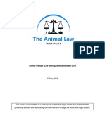 The Animal Law Institute Submission to the Animal Welfare (Live Baiting) Amendment Bill 2015