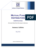 ICM_Mutual Fund Distributors (Summary Syllabus - May 2012)