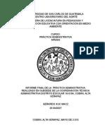 Indice Del Informe Final de Practica Administrativa