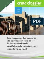 Les Risques Et Les Mesures de Prévention Lors de La Manutention de Matériaux de Construction Chez Le Négociant