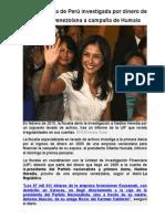 Primera Dama de Perú Investigada Por Dinero de Empresa Venezolana a Campaña de Humala