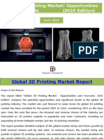 Global 3D Printing Market- Opportunities and Forecasts