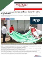 04-06-2015 Nerio Torres Arcila cumple con la ley electoral y retira su publicidad