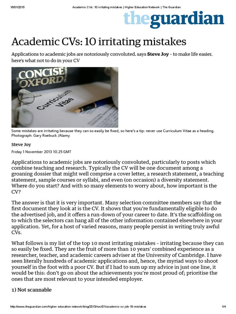 Academic CVs_ 10 Irritating Mistakes _ Higher Education Network _